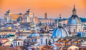 Wonderful view of Rome skyline at sunset, Italy